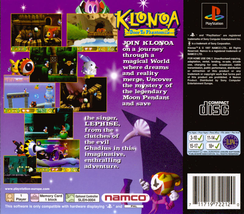 Klonoa: Door to Phantomile PlayStation Back Cover