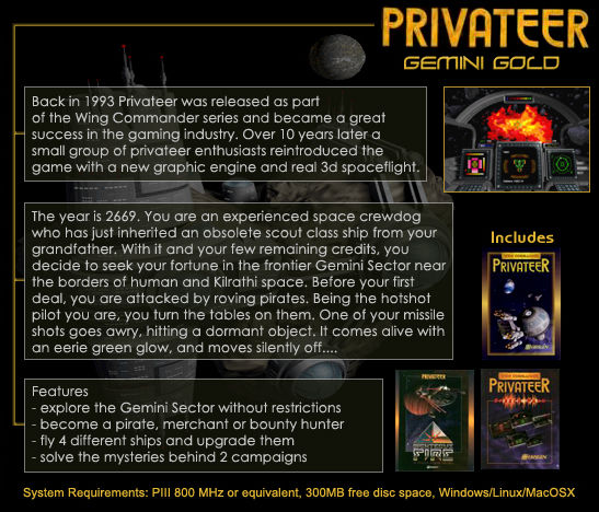 Wing Commander: Privateer - Gemini Gold Linux Back Cover