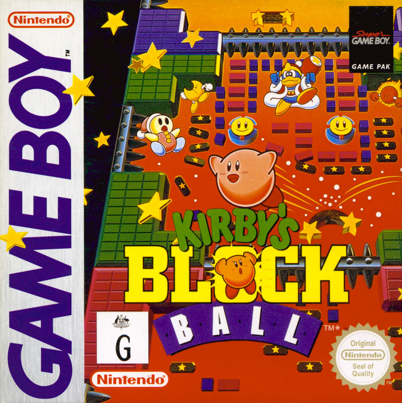 Kirby's Block Ball Game Boy Front Cover