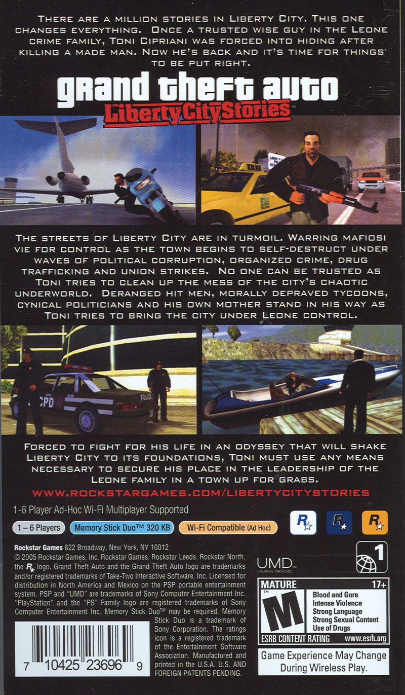 Grand Theft Auto: Liberty City Stories PSP Back Cover