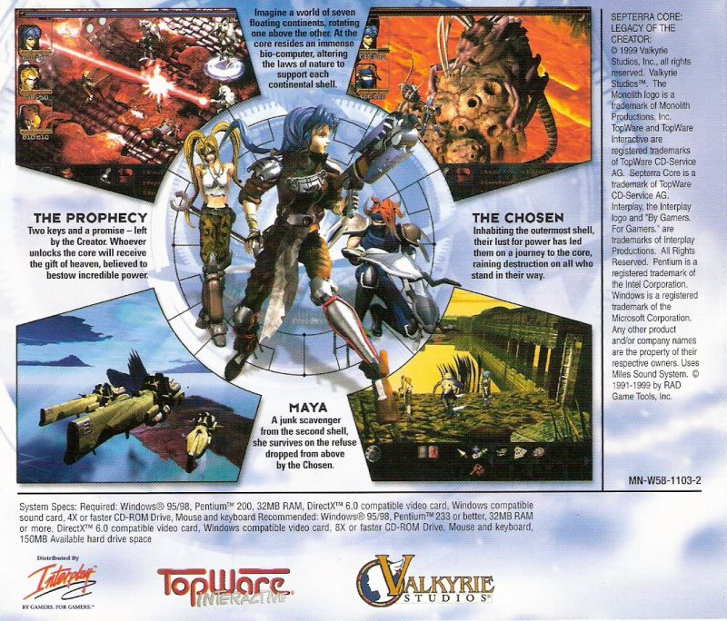 Septerra Core: Legacy of the Creator Windows Other Jewel Case - Back