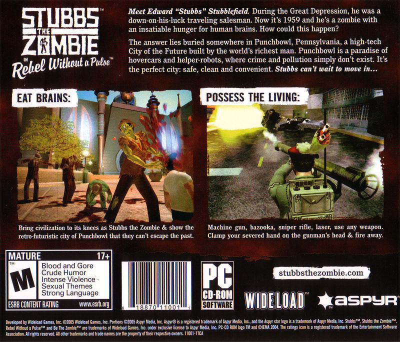 Stubbs the Zombie in Rebel Without a Pulse Windows Other Jewel Case - Back