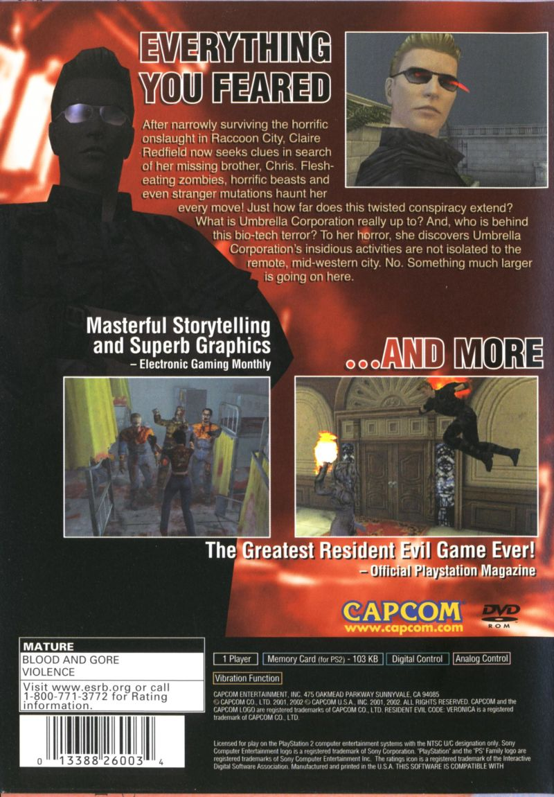 Resident Evil: Code: Veronica X PlayStation 2 Back Cover