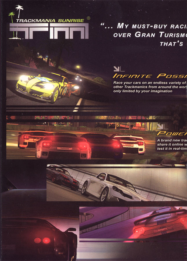 TrackMania Sunrise Windows Inside Cover Left Flap