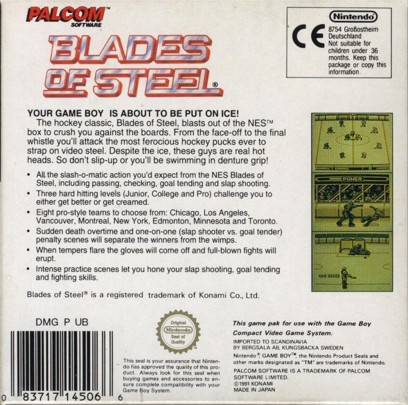 Blades of Steel Game Boy Back Cover