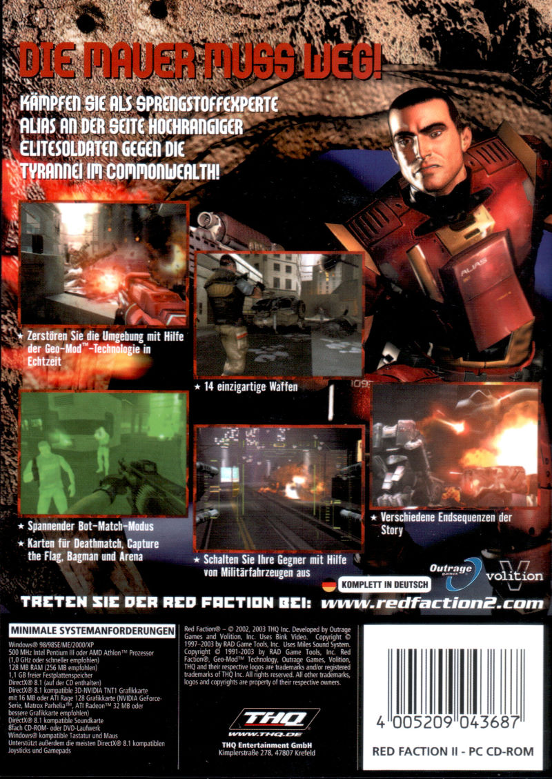 Red Faction II Windows Back Cover