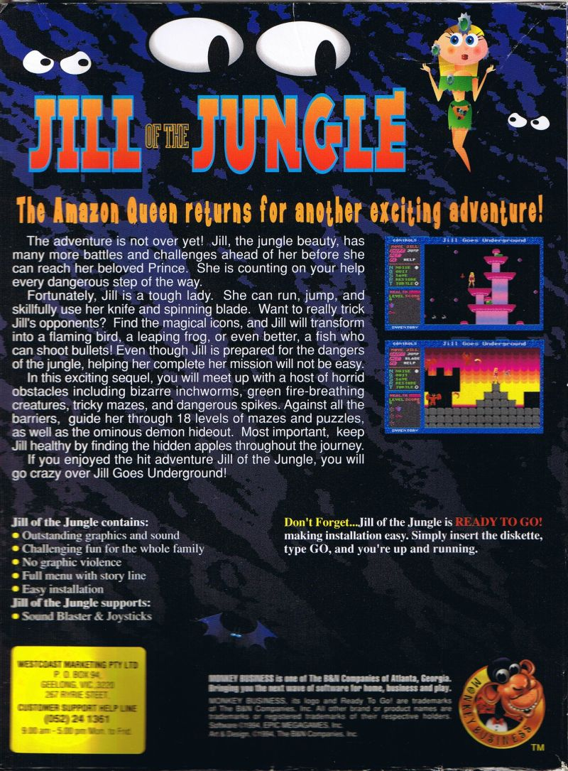 Jill of the Jungle: Jill Goes Underground DOS Back Cover