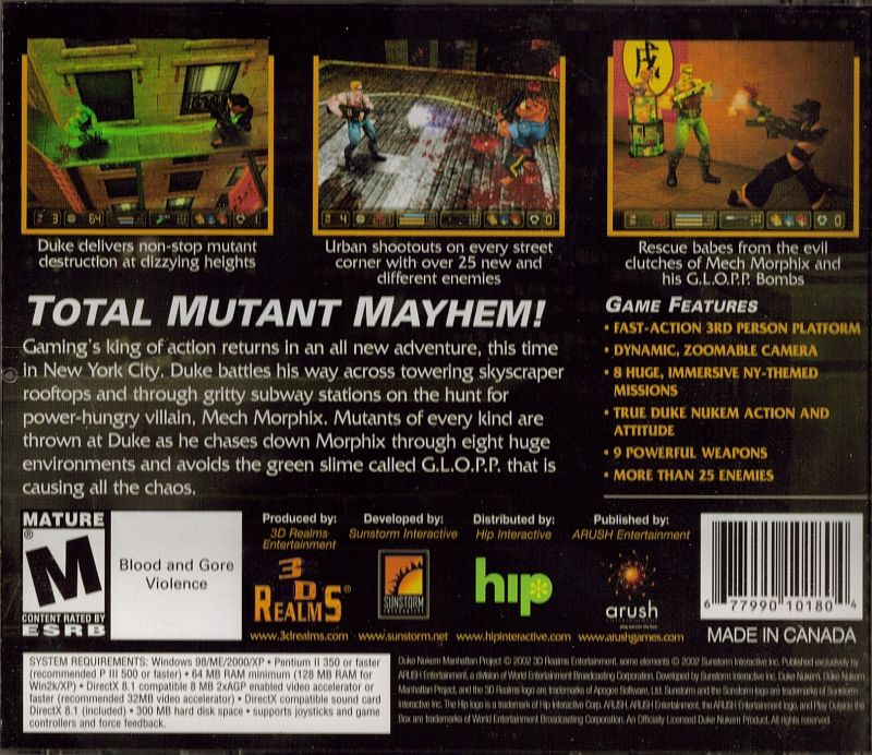 Duke Nukem: Manhattan Project Windows Other Jewel Case - Back