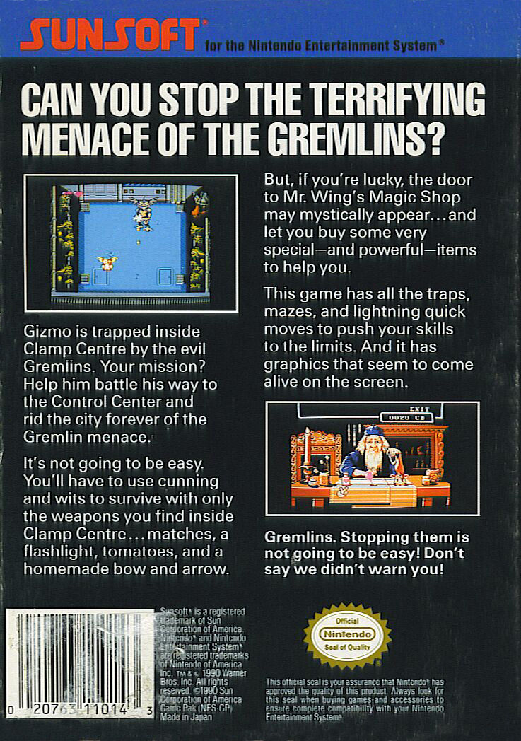 Gremlins 2: The New Batch NES Back Cover
