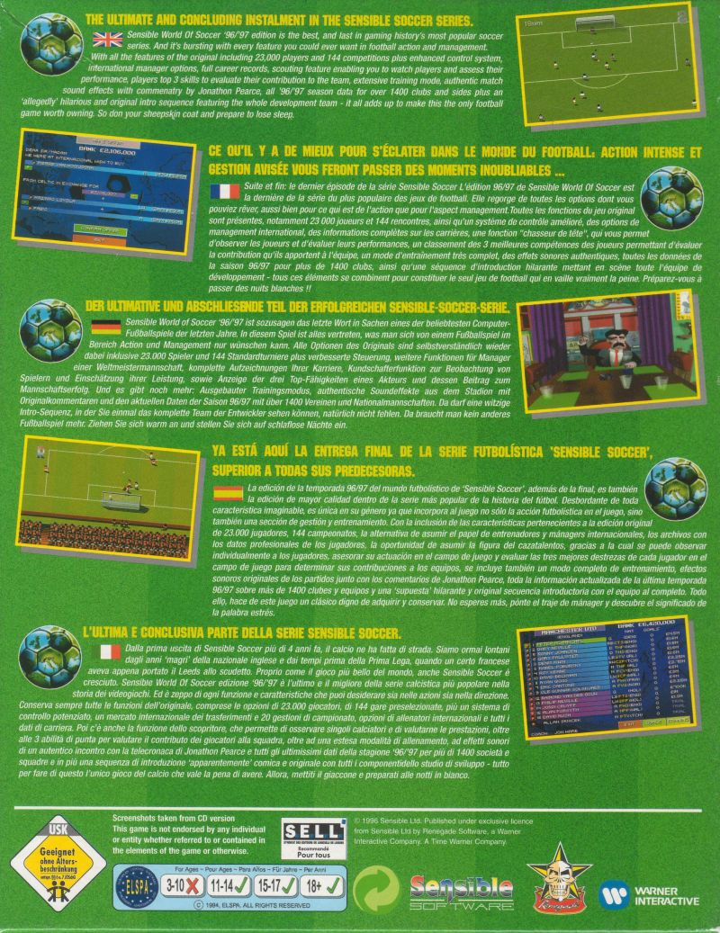 Sensible World of Soccer '96/'97 DOS Back Cover