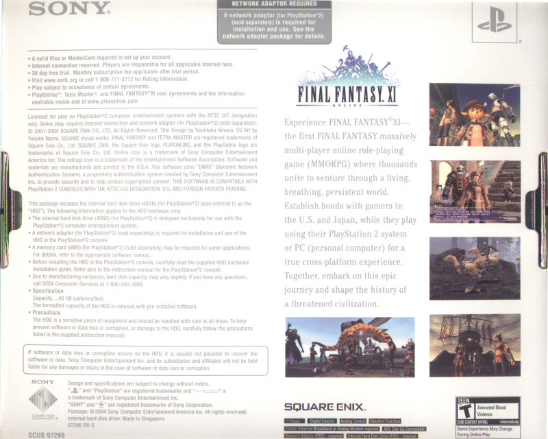 Final Fantasy XI Online PlayStation 2 Back Cover Box Back