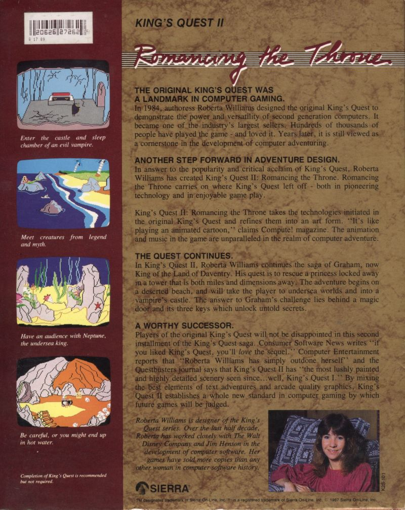 King's Quest II: Romancing the Throne Amiga Back Cover