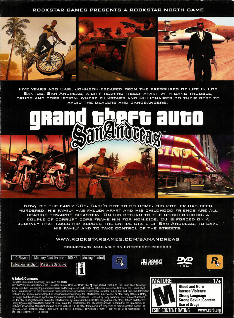 Grand Theft Auto: San Andreas (Special Edition) PlayStation 2 Other Game Case - Back Cover