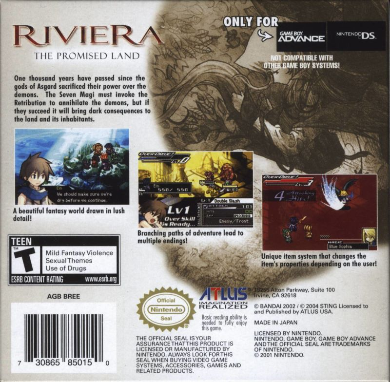 Riviera: The Promised Land Game Boy Advance Back Cover