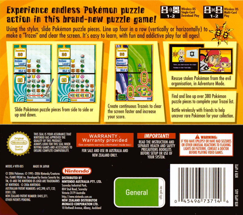 Pokémon Trozei! Nintendo DS Back Cover