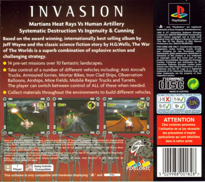 Jeff Wayne's The War of the Worlds PlayStation Back Cover