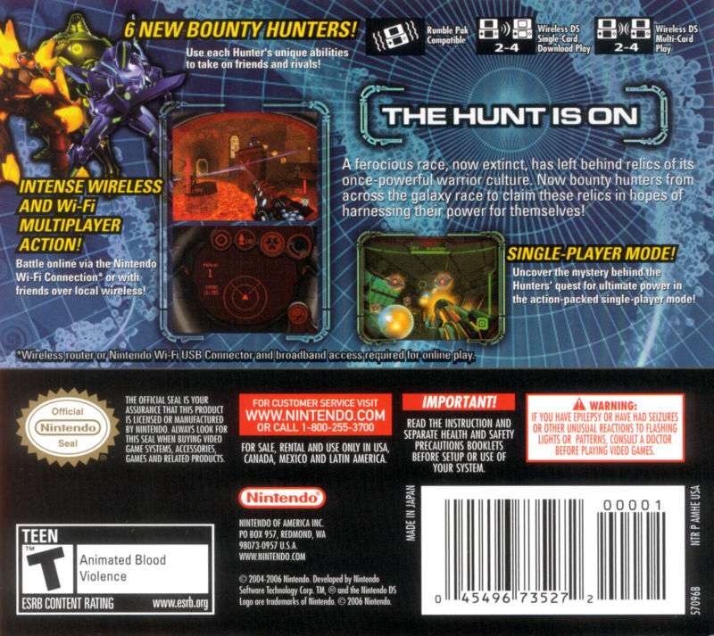 Metroid Prime: Hunters Nintendo DS Back Cover
