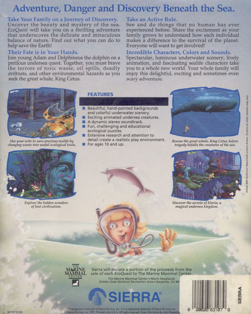 EcoQuest: The Search for Cetus DOS Back Cover