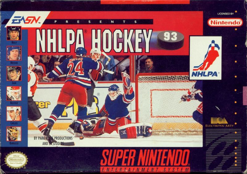 NHLPA Hockey '93 SNES Front Cover
