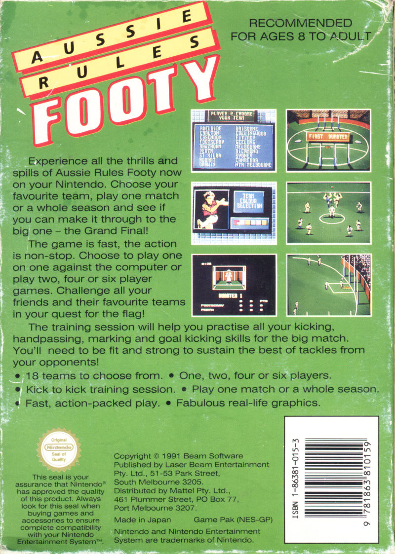 Aussie Rules Footy NES Back Cover
