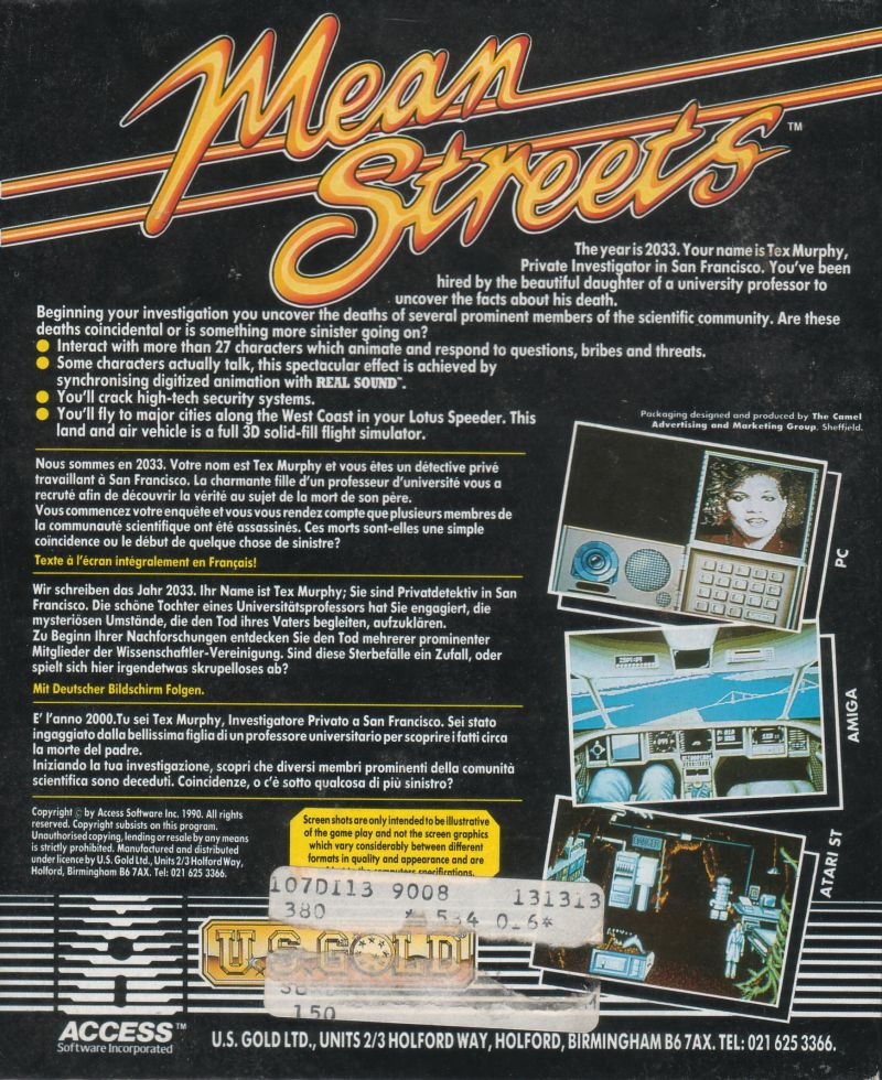 Mean Streets Amiga Back Cover