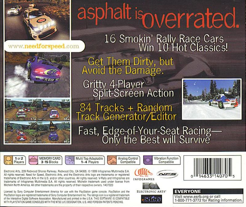 Need for Speed: V-Rally 2 PlayStation Back Cover