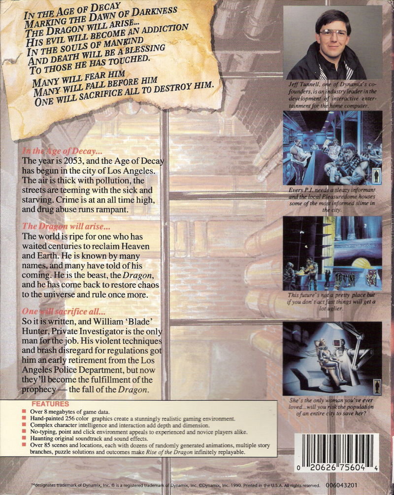 Rise of the Dragon DOS Back Cover