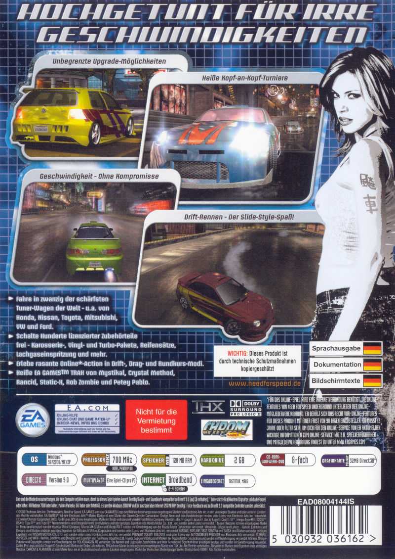 Need for Speed Underground Windows Back Cover