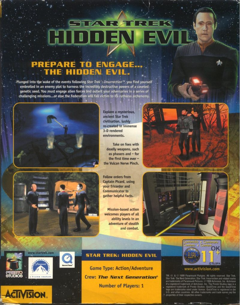 Star Trek: Hidden Evil Windows Back Cover