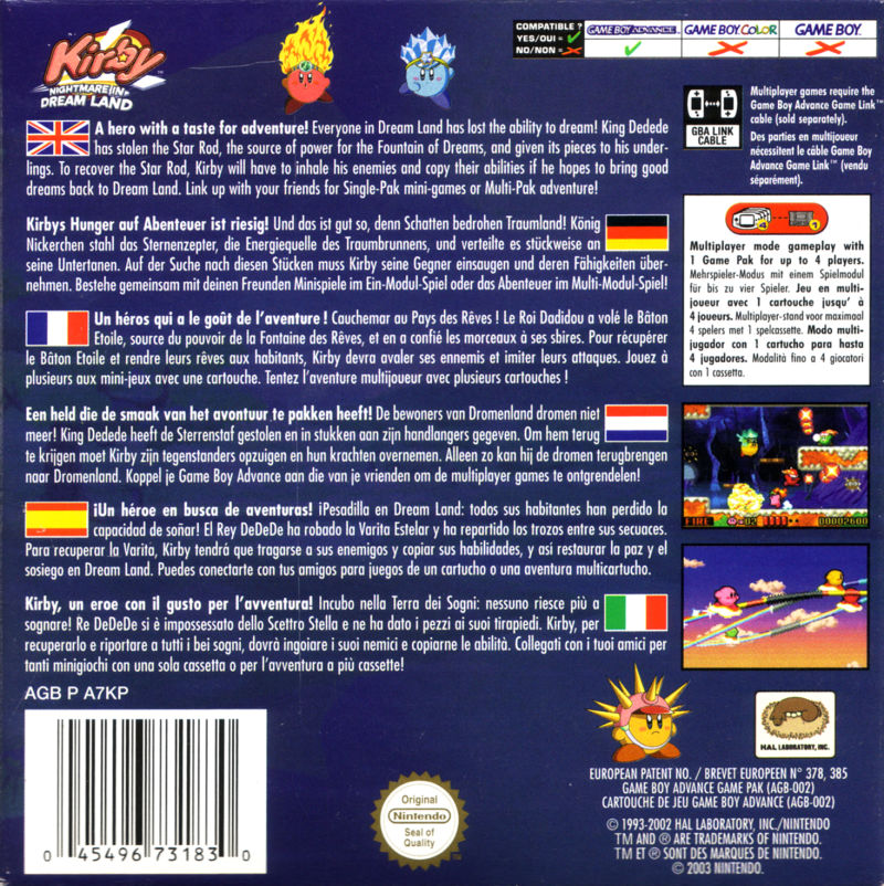Kirby: Nightmare in Dreamland Game Boy Advance Back Cover