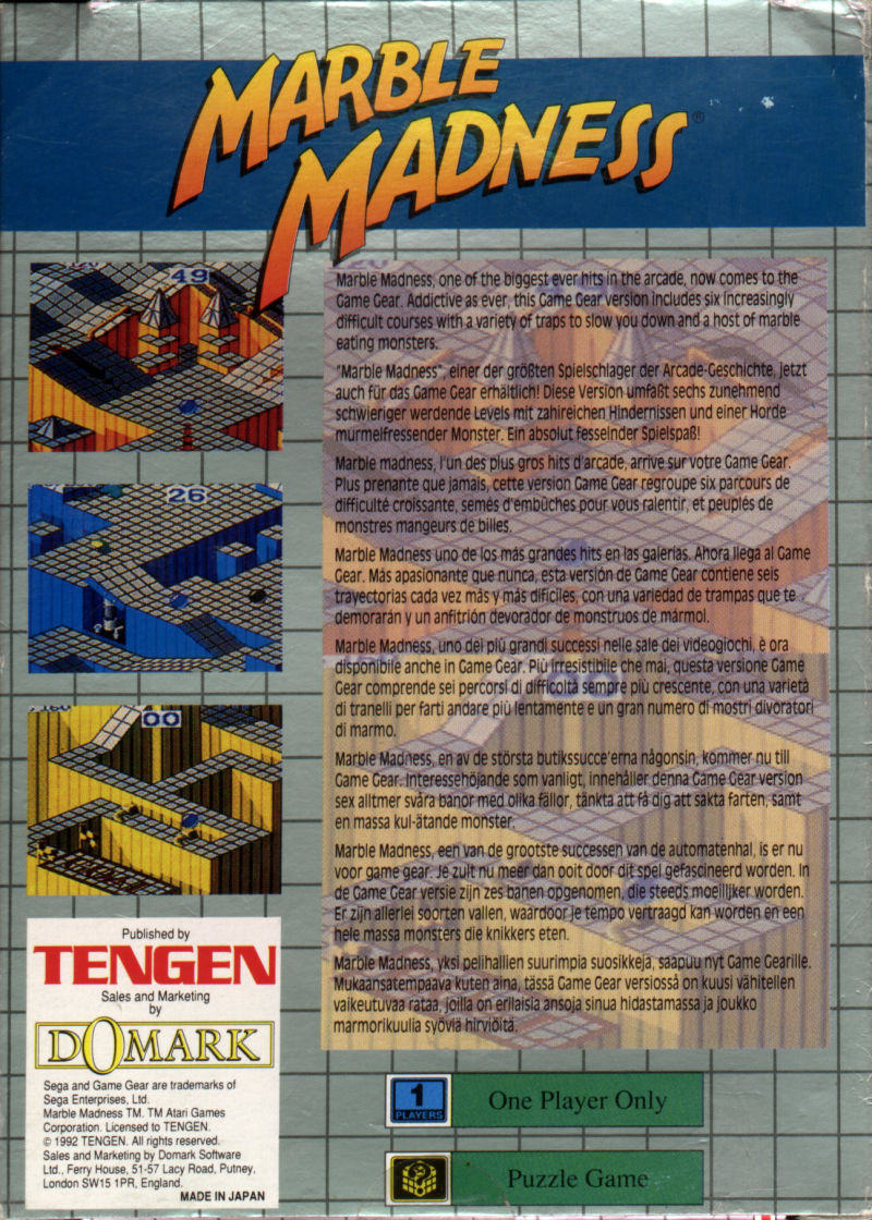 Marble Madness Game Gear Back Cover