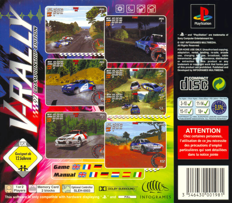 Need for Speed: V-Rally PlayStation Back Cover