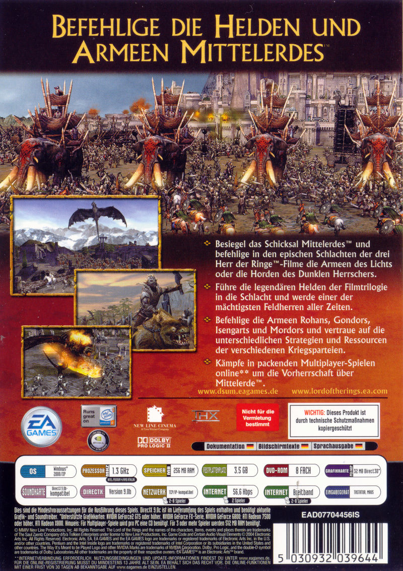 The Lord of the Rings: The Battle for Middle-Earth (Limited Edition) Windows Other Keep Case - Back