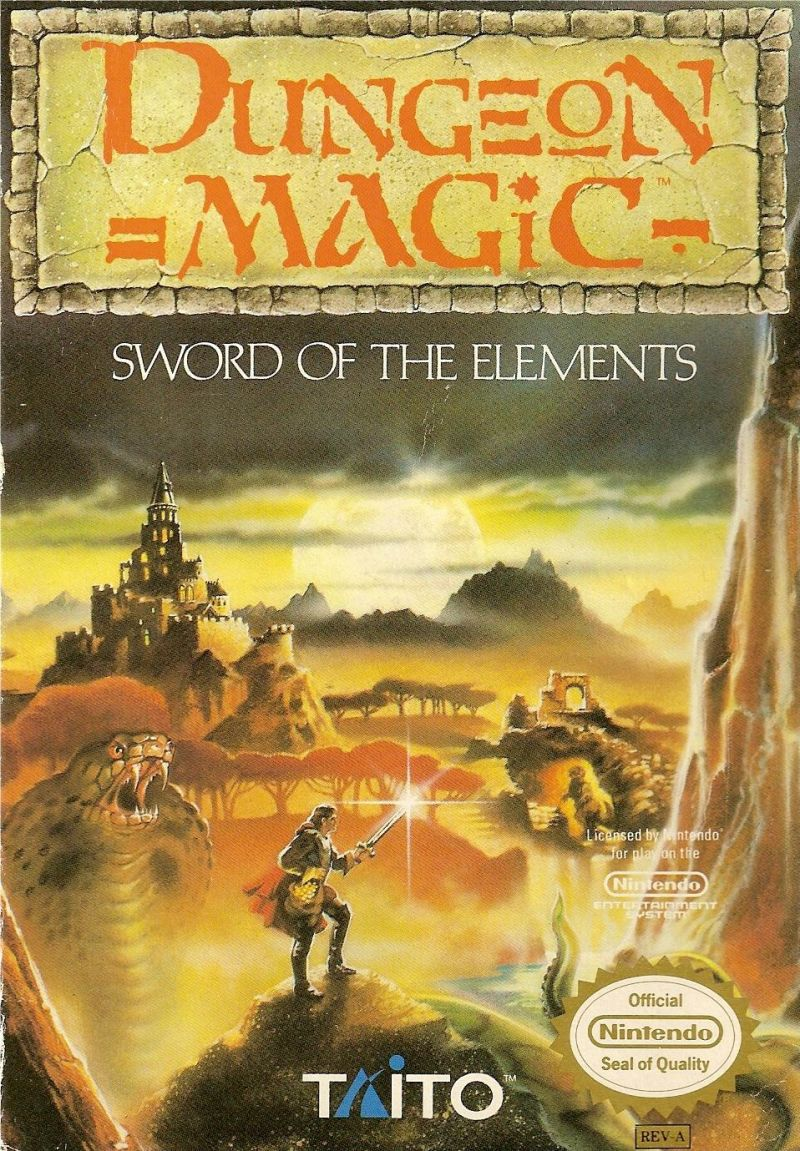 Dungeon Magic: Sword of the Elements NES Front Cover