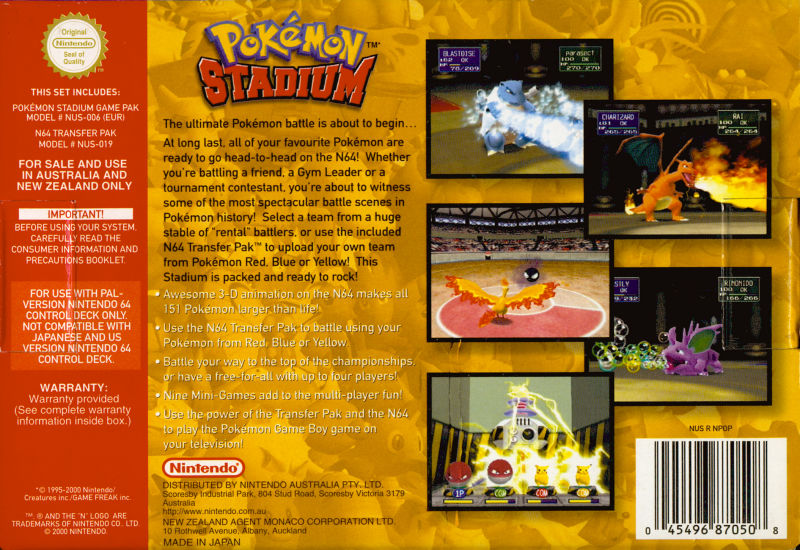 Pokémon Stadium Nintendo 64 Back Cover