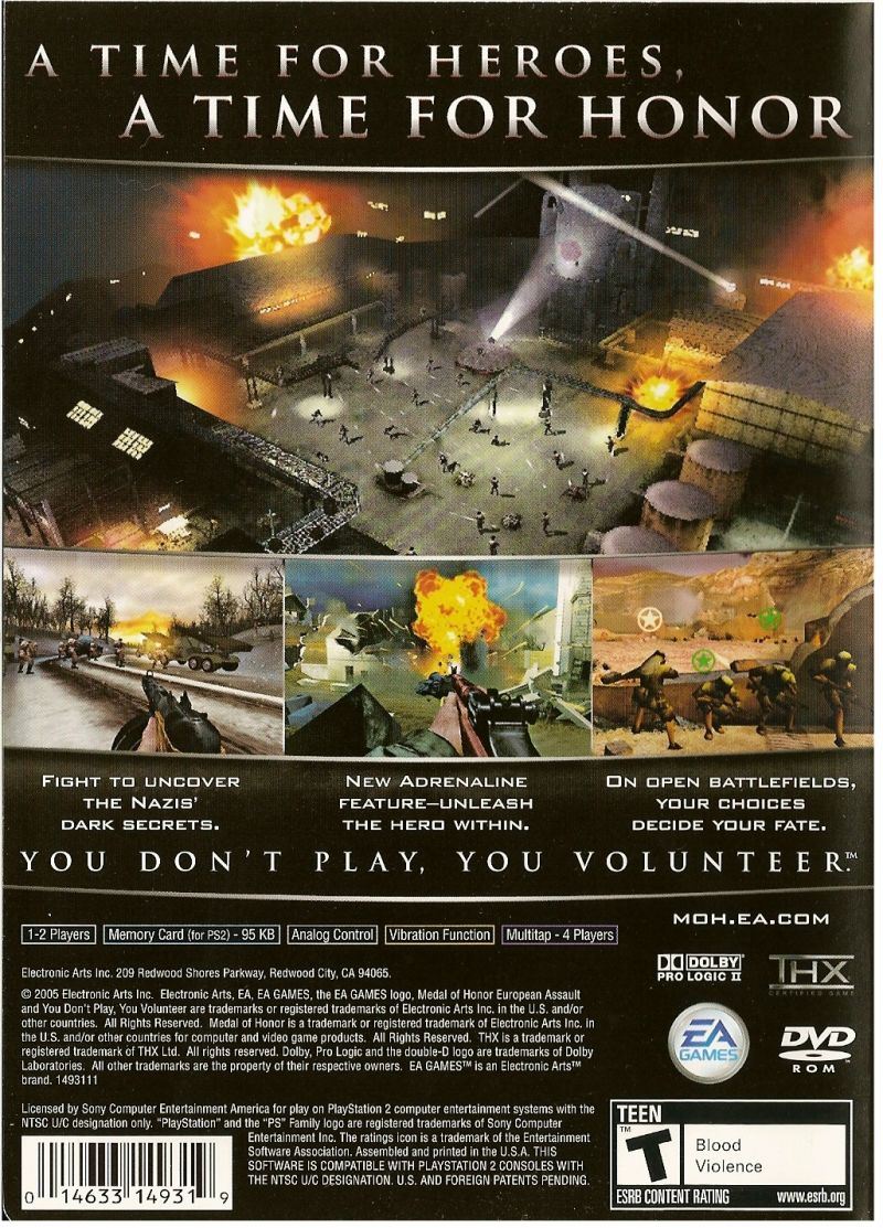 Medal of Honor: European Assault PlayStation 2 Back Cover