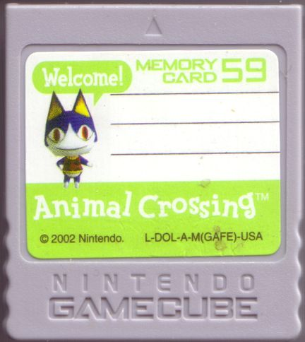 Animal Crossing GameCube Media Included memory card. Has bonus data pre-loaded.