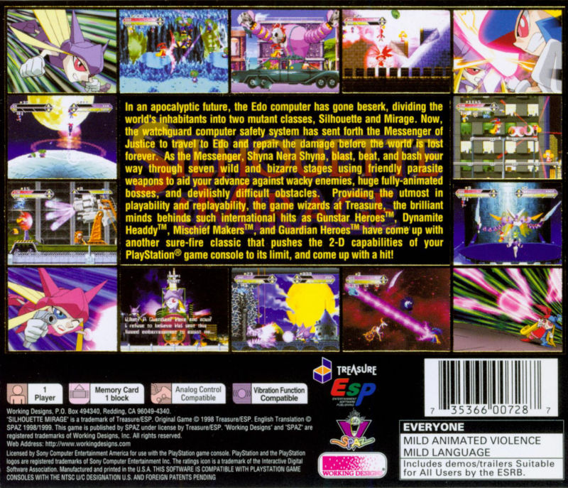 Silhouette Mirage PlayStation Back Cover