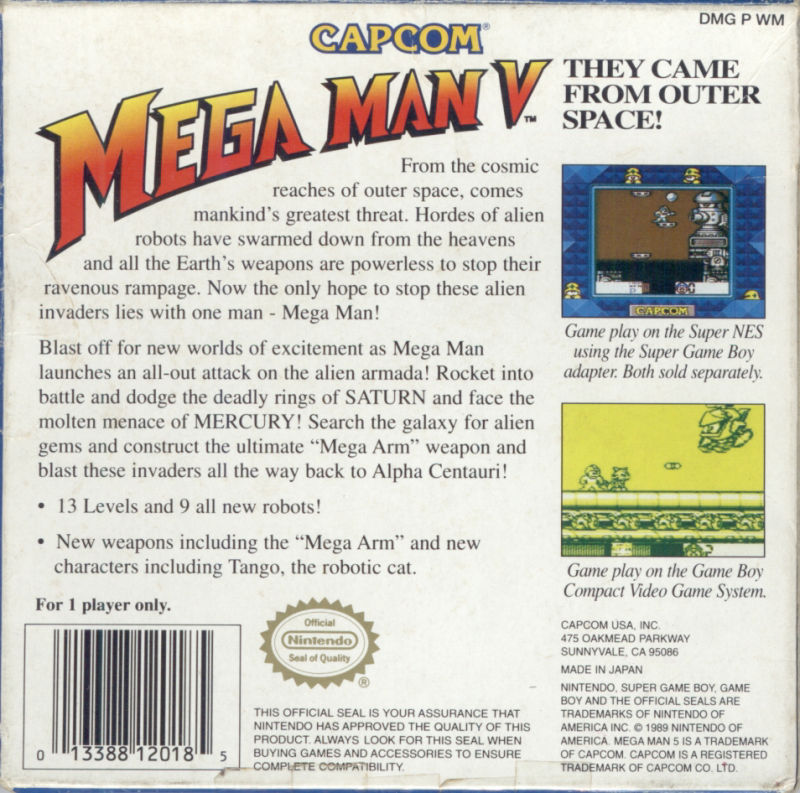 Mega Man V Game Boy Back Cover