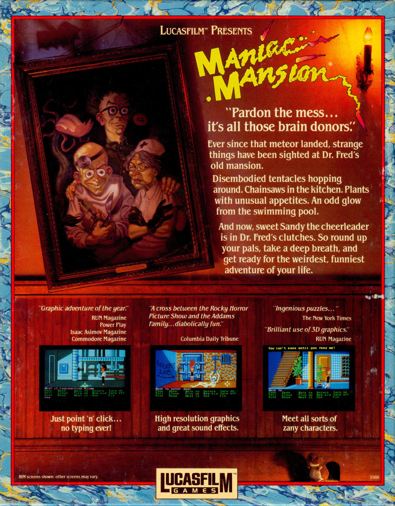 Maniac Mansion Amiga Back Cover