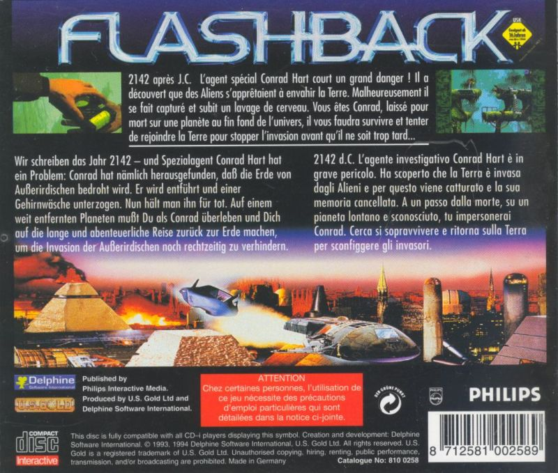 Flashback: The Quest for Identity CD-i Back Cover