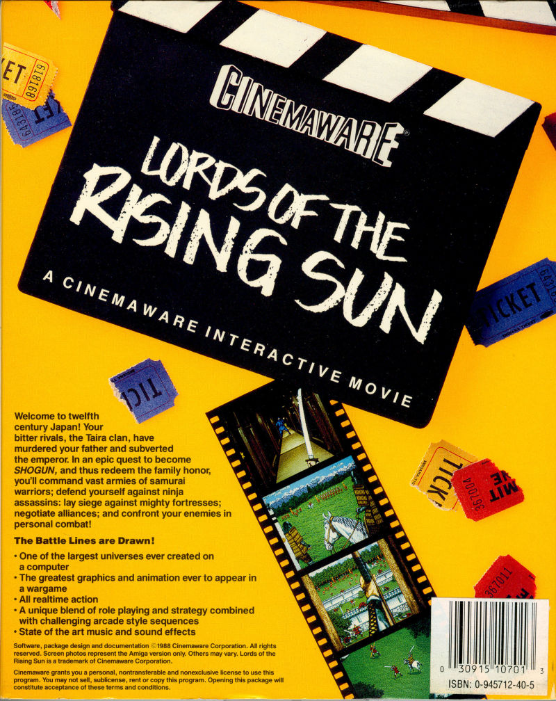 Lords of the Rising Sun Amiga Back Cover