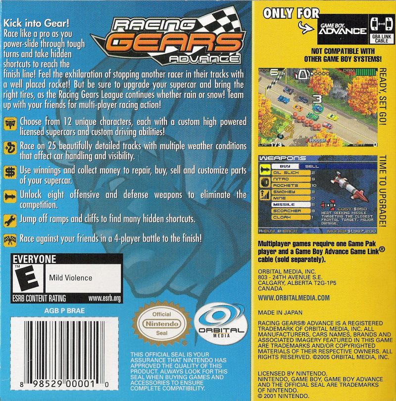 Racing Gears Advance Game Boy Advance Back Cover