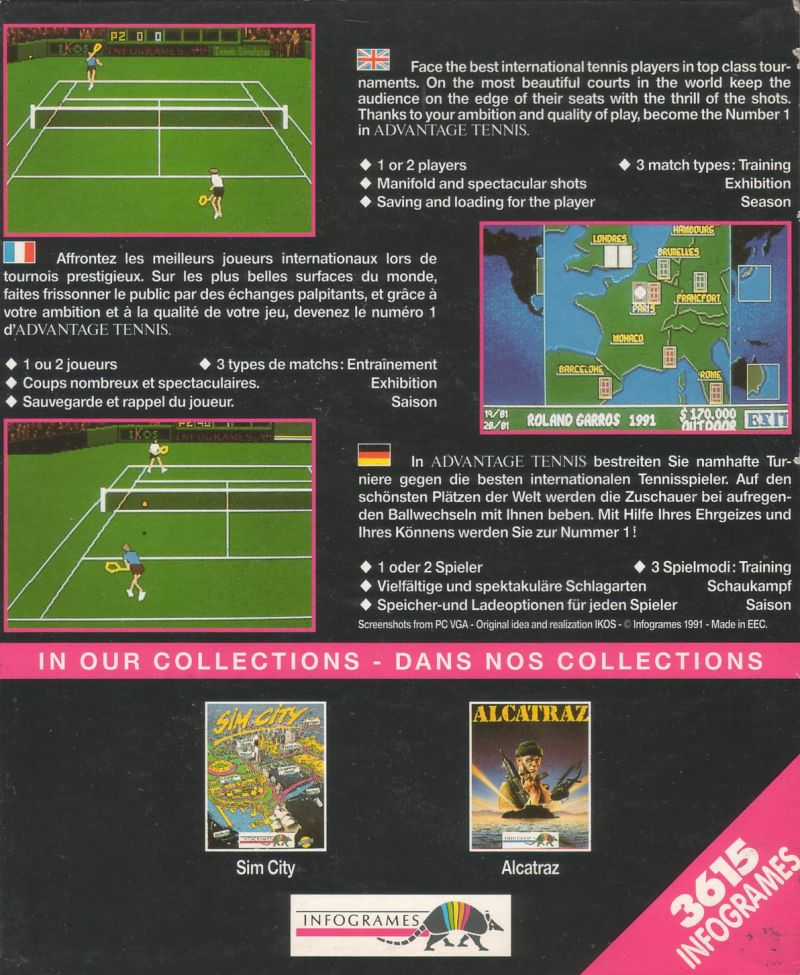 Advantage Tennis Amiga Back Cover