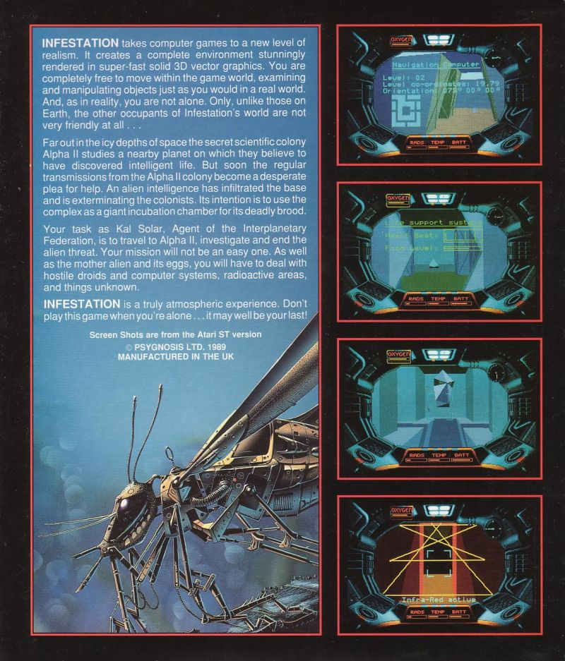 Infestation Atari ST Back Cover