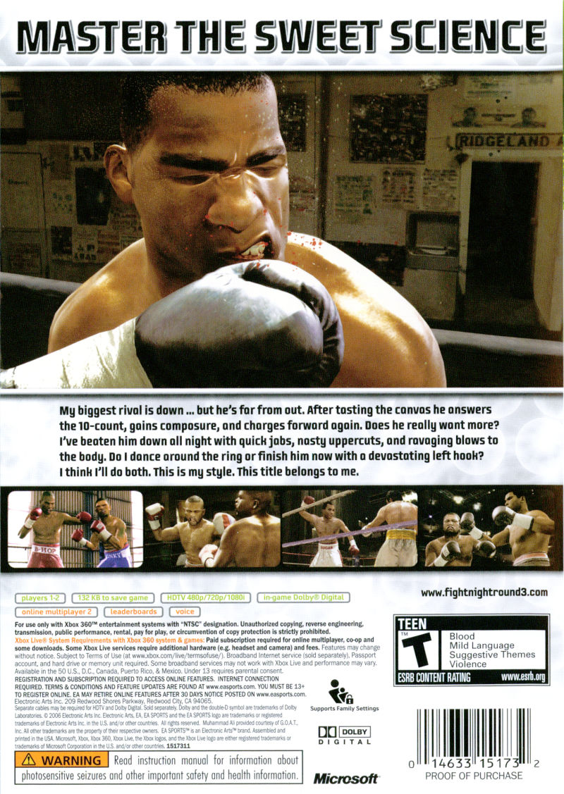 Fight Night Round 3 Xbox 360 Back Cover