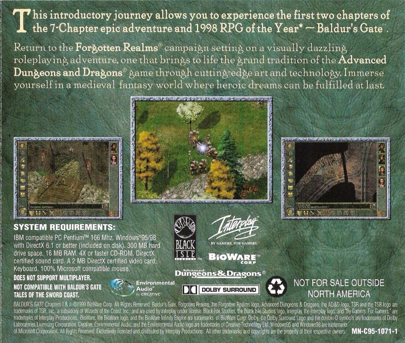 Baldur's Gate Chapters I & II Windows Other Jewel Case - Back