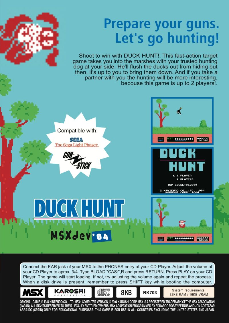 Duck Hunt MSX Back Cover