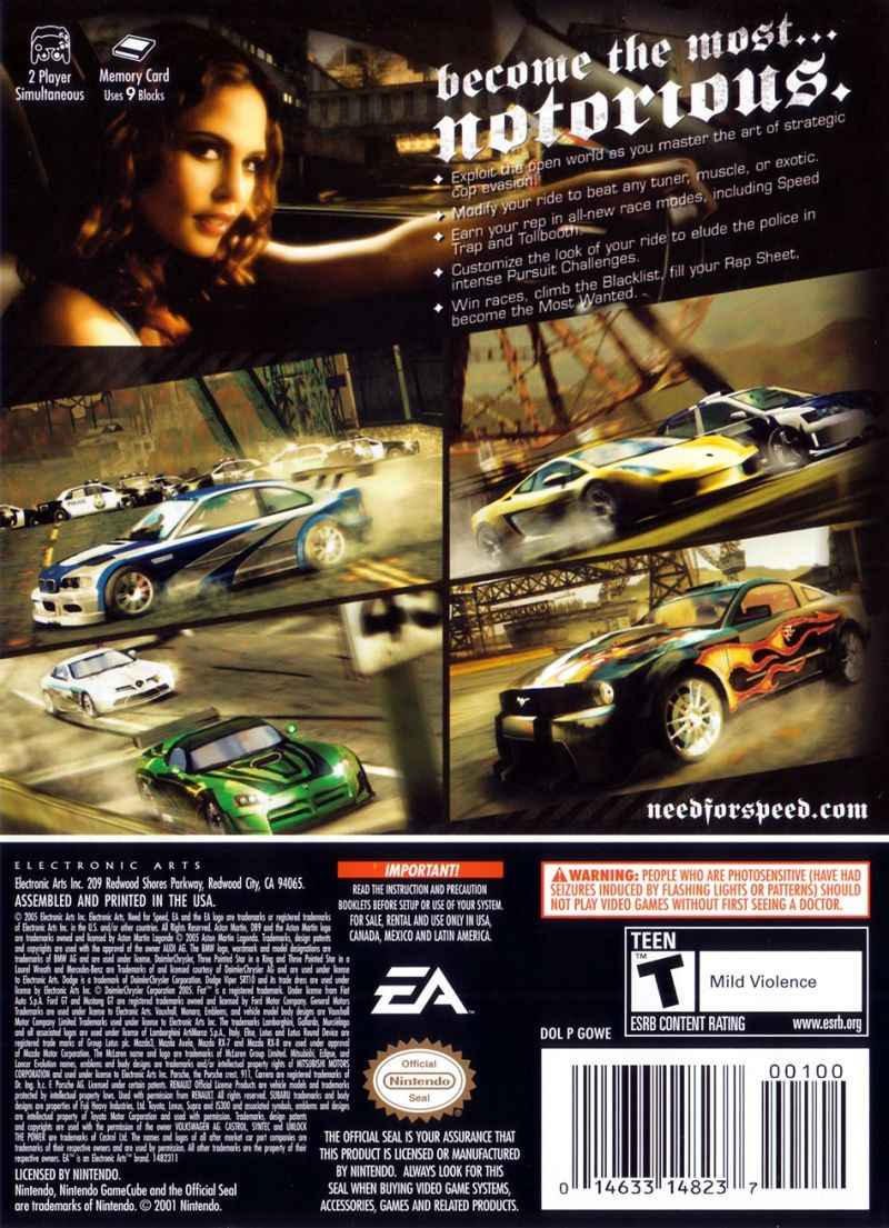 Need for Speed: Most Wanted GameCube Back Cover
