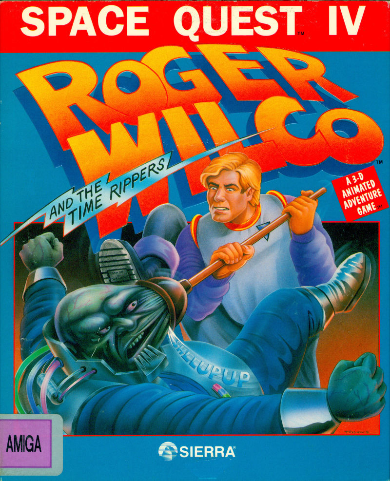 Space Quest IV: Roger Wilco and the Time Rippers Amiga Front Cover